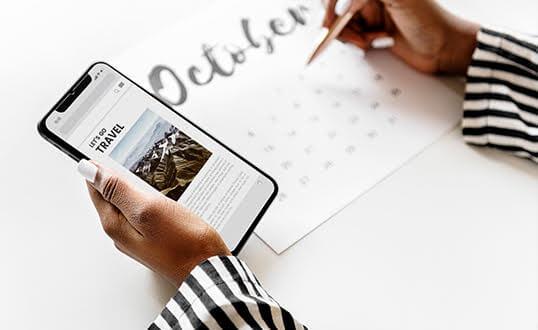 calendário de postagens